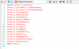 Fig.11: AQL query for the JOIN command
