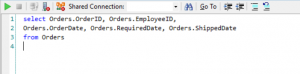 Fig.6: AQL query to fetch data from the 'Orders' table