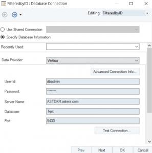 Configuring the Vertica destination table