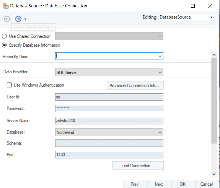 Configuring connection to SQL Server Source