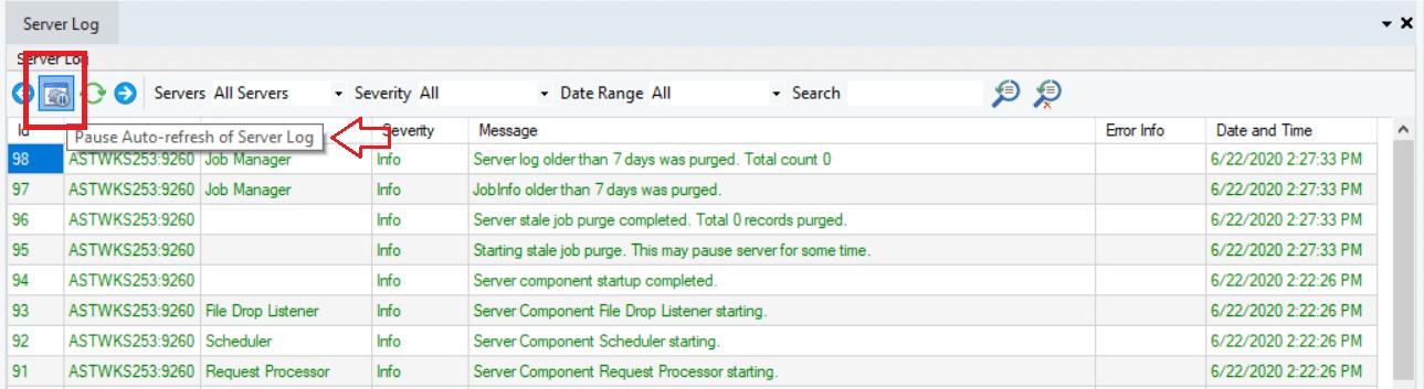 server log improvements