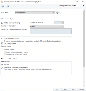 Pick Source Table and Reading Option screen for Redshift database