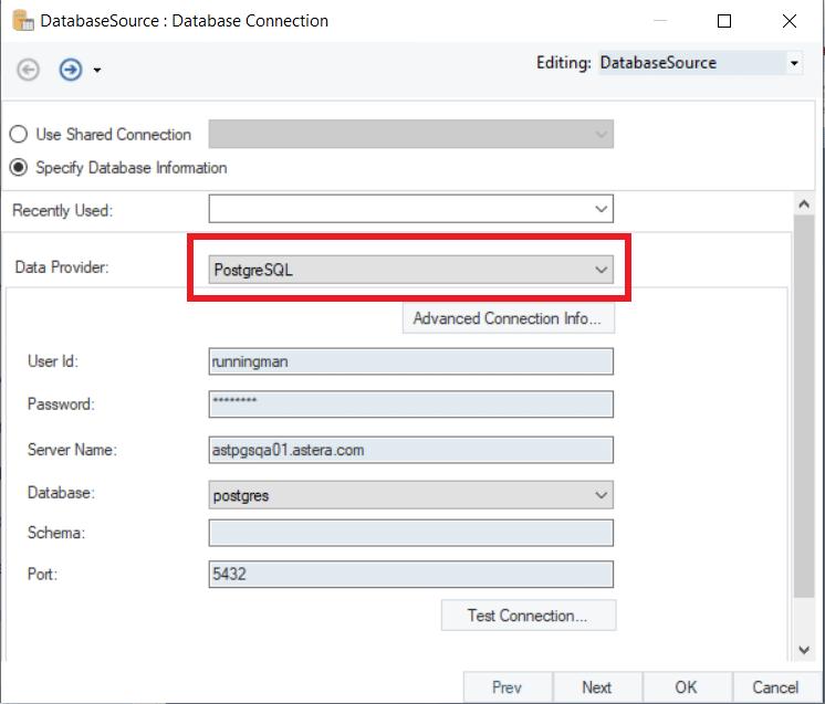 Figure 4: Selecting PostgreSQL as the server repository