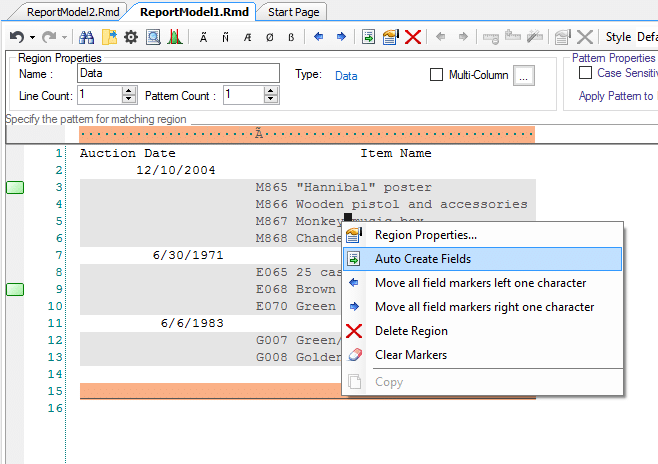 data extraction template reportminer